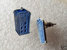 Pair of Dr Who Tardis Blue Police Box earrings for pierced ears time machine