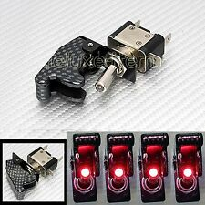 SET OF 4 CARBON FIBER LOOK RED LIGHT LED AIRCRAFT TYPE TOGGLE SWITCH 12V DC