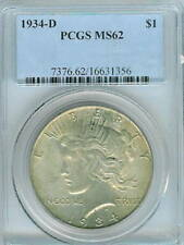 1934-D Peace Dollar : PCGS  MS62
