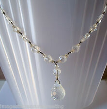 Elegant orig Edwardian sparkly faceted clear glass & gold-tone wire necklace