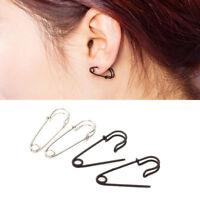 Fashion Women Black Silver Safety Pin Earrings Ear Stud Dangle Punk Jewelry