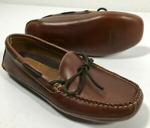 LL Bean Mens 8 D Brown All Leather Moccasin Double-Sole Slippers Leather-Lined