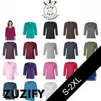 LAT Apparel Ladies 3/4-Sleeve V-Neck T-Shirt. 3577