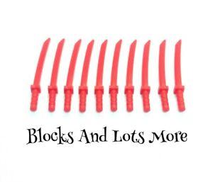 NEW LEGO 10 x Red Katana Swords Ninjago Ninja Weapons Accessories Part 21459