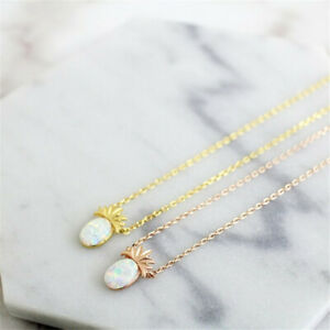 Women Fashion Jewelry Pineapple Fruit Opal Pendants Clavicle Necklace Lady Gifts