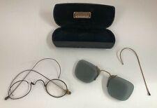 Vintage 1930s Men's Eye Glasses Frame Hook Ear & Sun Glasses with Case