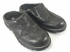UGGS Classic Womens 7 Black Leather Clogs Shoes 5348 5.5 UK 38 EU