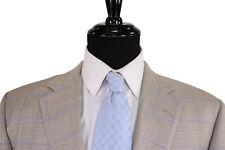Samuelsohn Sport Coat Size 44L In Cream & Brown With Soft Purple Plaid Recent