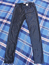 H&M YOUNG girls black sparkly party special occasion leggings age 11-12 sequins