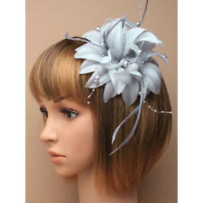 Silver grey fascinator with petals, pearls, and tendrils (beak clip and pin)