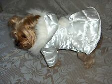 Dog Girl Apparel Clothes Quilted Reversible Hooded Coat/Jacket White Size Small