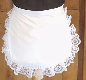 GIRLS WHITE APRON WHITE  WAIST  LACE VICTORIAN EDWARDIAN MAID  fancydress