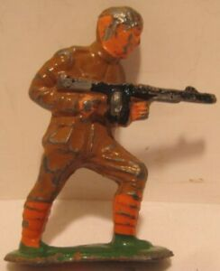 Old Lead Army Military Toy Soldier - Charging w/ Machine Gun