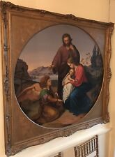 """VERY RARE ORIGINAL """"The Holy Family"""" by Carl Müller Oil on Canvas tondo PAINTING"""