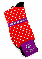 Uomo Venetto Polka Dots Mens Socks Novelty Fun Casual Fashion Red Holiday Sock