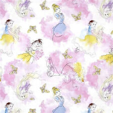 """Disney Stylish Princess Watercolor characters 100% cotton Fabric Remnant 27"""""""