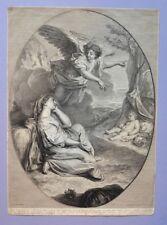 Gravure au burin XVIIIème - Religion - Bible - Agar congédiée par Abraham - 1707