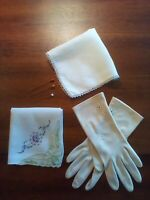 VINTAGE ANTIQUE LOT OF 6, PAIR IVORY LADIES GLOVES, 2 HANDKERCHIEFS , 3 HAT PINS