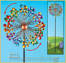 Colorful Metal Double Wind Spinner Stake Outdoor Yard Garden Home Art Decor 5'