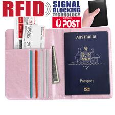 Mens Women Leather Credit Card Passport Wallet Purse RFID Blocking Anti Scan AU