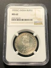 INDIA 1 Rupee 1920 C, NGC MS 62 Choice UNC, Lustrous Surfaces KGV, Very Pretty