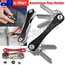 7-12 Keys Key Holder Compact Smart Organizer Pocket Size Ring Aluminium (Black)