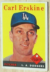 1958 TOPPS BASEBALL SET, #258 Carl Erskine, Los Angeles Dodgers, VG
