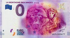 BILLET 0 ZERO EURO SOUVENIR TOURISTIQUE MONTAGNE DES SINGES  2016