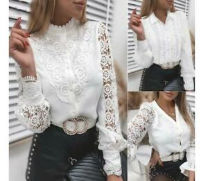 Womens 2021 Fashion Guipure Lace V Neck Long Sleeves Casual White Shirt Top SKGB