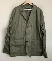 Banana Republic Mens Military Jacket Army Green Zip Buttons Lined Size XL