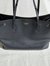 Kate Spade Laurel Way Black Saffiano Leather Extra Large Tote Gold Accents EUC