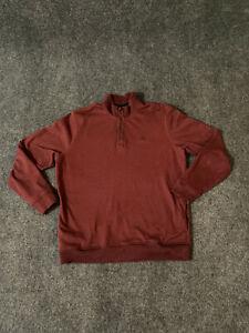 Travis Mathew Men's 1/4 Button Thick Cotton/Polyester XXL Maroon MIX LS Sweater