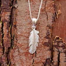 Sterling Silver 925 Feather Pendant Chain Necklace Pure Origins Sea Gems Tribal