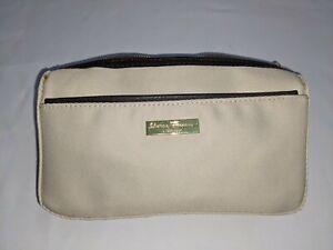 Salvatore Ferragamo Parfums Khaki Canvas Bag Jewelry/Toiletry/Makeup GUC