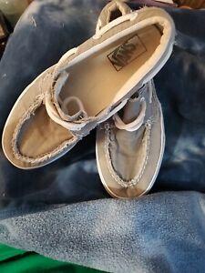 VANS Zapato del Barco gray Slip On Sneaker Flat Sole Adult mens size 10