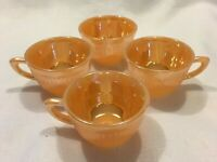 FIRE KING ANCHOR HOCKING Set of 4 Jane-Ray Peach Luster Demitasse Cups Look NEW