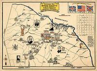 Early Mid-century Historical Map Rowan County North Carolina Vintage Wall Poster