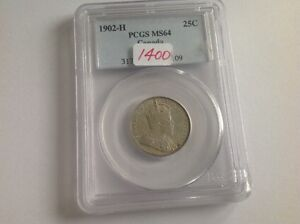 1902 H Canada 25 Cent PCGS MS 64!!!