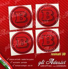 4 Adesivi Resinati Sticker 3D BRABUS Smart 65 mm Rosso e Nero GEL cerchi