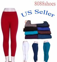 Women's One Size Textured Or Brush Slim Stretch Skinny Footless Leggings NEW