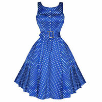 Hearts & Roses London Blue Polka Dot Vintage 1950s Retro Party Prom Dress UK
