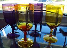 Vintage Colored Glass Wine Goblet Glass Set Of 4