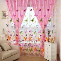 Butterfly Print Sheer Curtain Panel Window Balcony Tulle Door Room Divider GA