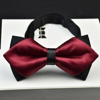 Black & Red Sharp Corner Polyester Charming Double Layer Mens Formal Bow Ties