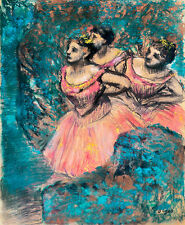 Three Dancers in Red Costume by Edgar Degas A1+ High Quality Canvas Print