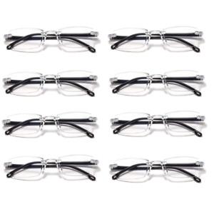 8 Packs Mens Womens Unisex Reading Glasses Frameless 1.0 1.5 2.0 2.5 3.0 3.5 4.0