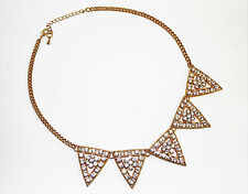 Damen Statement Halskette Kette Collier in Gold mit Strass Kristall, Dreieck NEU