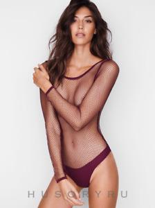 Victoria's Secret VERY SEXY Burgundy Fishnet Bodysuit Thong G-string Small NWT