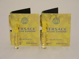 2 x Versace Yellow Diamond Eau De Toilette EDT Vial Sample 1.5ml 0.05oz & Cards