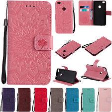 KT Strap Emboss Sun flower Wallet Card  Leather Case Cover For MOTO LG Sony XZ1